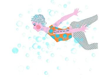 Archival Art Print - Swimming Girl - Halifax
