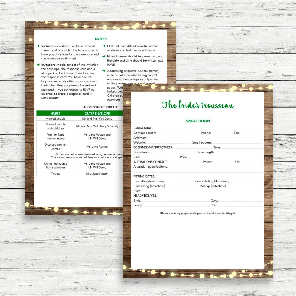 Printable wedding planner Instant download wedding planner – Wedding Planner Worksheets