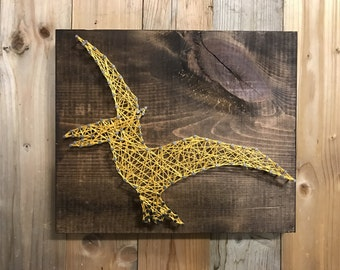 Pterodactyl String Art - Dinosaur Decor - Boys Room Decor - Dinosaur Nursery - Pterodactyl - Dino Wall Art - Dinosaur Sign - Boys Nursery