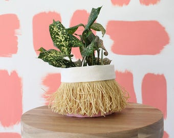 FRINGE CLOTH PLANTER - coral fabric planter with mustard yellow fringe