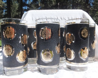 6 - 1960's Libbey Black and Gold Coin Tall, Highball Glasses