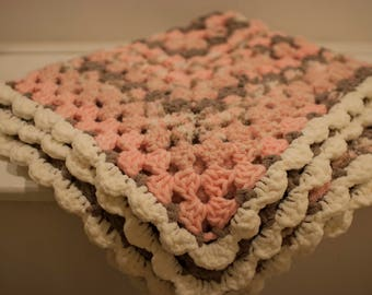 Bella -  crochet textured granny style baby blanket pink