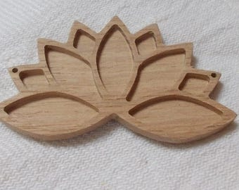 NEW 1 p unfinished wooden lotus flower,lotus flower pendant base,lotus necklace tray,wooden jewelry setting,wooden resin tray,jewelry making