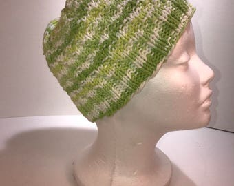 Handmade knit spring green cotton cap