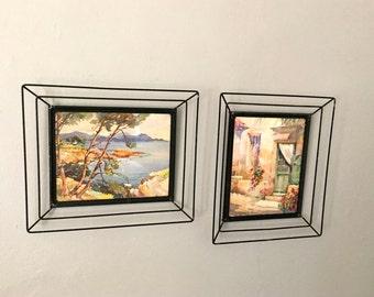 Midcentury Pair of Original Watercolor Paintings in Three Dimensional Black Wire Frames, Vintage Paintings.