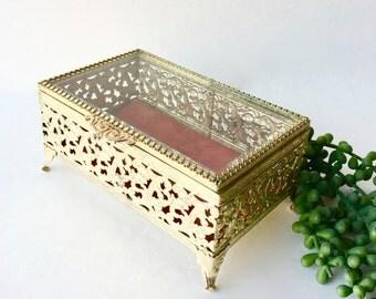 VIntage Ornate Brass Jewelry Box With Glass Lid, Ornate Brass Keepsake Box, Display Box