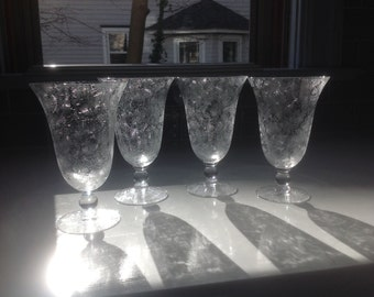 Antique Etched Crystal Water Goblets or Iced Tea Glasses - set of 4