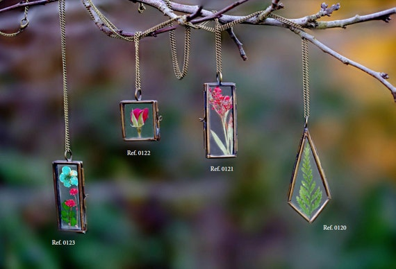 Woodland necklaces, geometric, boho, mystic, terrarium necklace, vintage copper, antique brass jewelry, red rose necklace, square