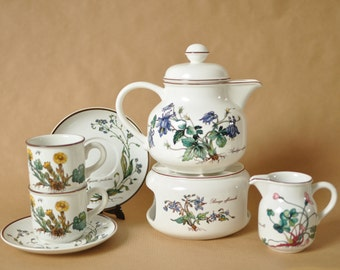 Villeroy and Boch - Botanica porcelain - Tea set - Teapot - milk jug - cups and saucers - tea light (warmer)