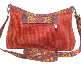 Designer New Jute Long Handle Purse in Red, Orange, Yellow Colors