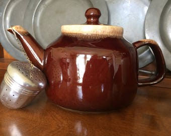 McCoy Pottery Brown Drip Glaze Teapot with Lid and Infuser