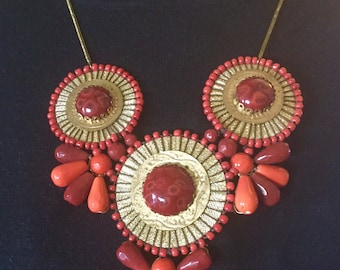 Fabulous Statement Necklace Handmade Red & Gold