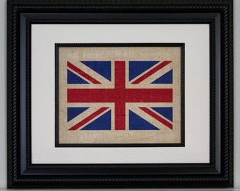 Burlap Union Jack  Flag, Burlap Wall Art