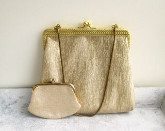 Gold coloured evening bag purse vintage, evening purse money golden 70 he years hand bag, bride wedding wedding