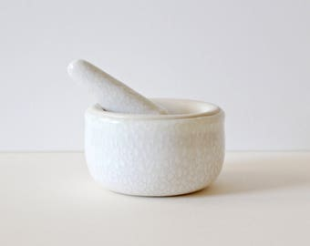 Ceramic mortar and pestle kitchen tool / cream and white / made to order