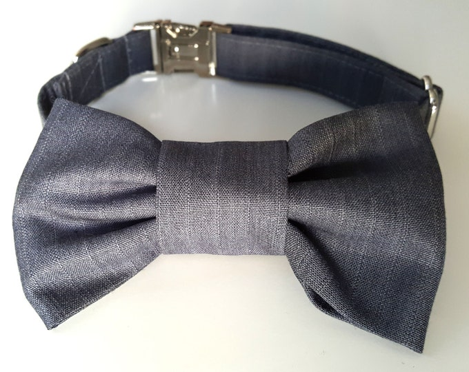 Grey Pinstripe Dog Collar and Bowtie Set