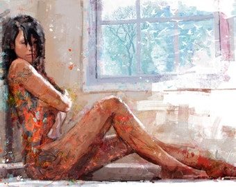 yossi original art - a cozy day,  giclee print embellished