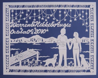 Custom Wedding Anniversary Paper Gift Papercutting Art