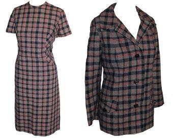 SALE Vintage 1960s matching set tartan plaid jacket & shift dress | tartan dress | plaid dress