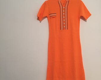 Vintage modette orange minidress vestitino arancione stripes size s deadstock