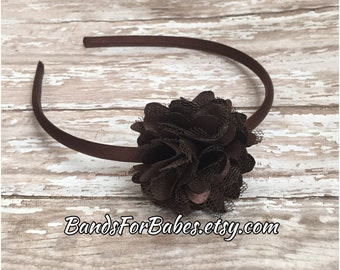 Brown Satin and Tulle Flower Headband, Girls Basic Flower Headband, Chocolate Flower Hair Accessory, Brown Satin Wrapped Hard Headband, Bow