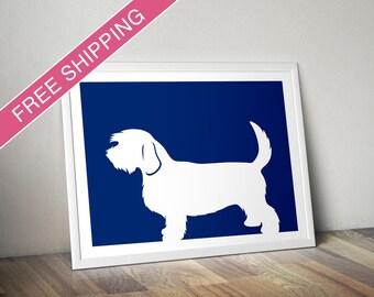 Petit Basset Griffon Vendeen Print (Natural Tail) - Petit Basset Griffon Vendeen Silhouette - modern dog home decor