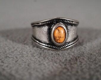 Vintage Silver Tone Striated Orange Agate Ring, Jewelry Southwestern Style Size5.5    KW135