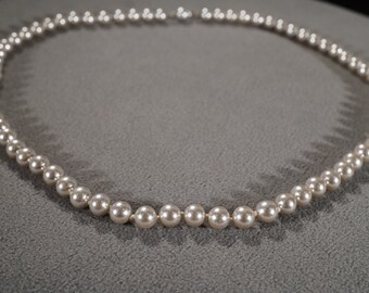 Vintage Art Deco Style Faux Pearl Silver Tone Round Glass Beads Necklace Jewelry -K#11