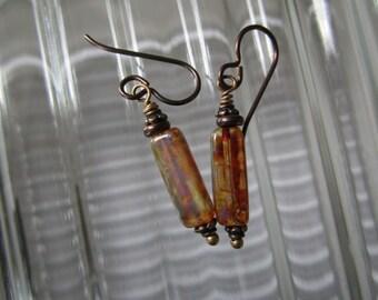 Crystal Picasso Earrings Tubular Czech Earrings Unique Stick Glass Earrings Simple Hypoallergenic Niobium Ear Wires Earthy Glass Earrings