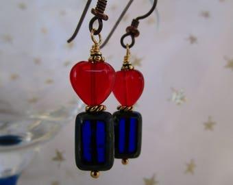 Cobalt Lovers Czech Glass Heart Earrings Red Glass Earrings Secure Hypoallergenic Niobium Ear Wires Pretty Red and Blue Glass Earrings