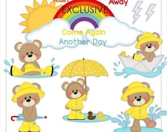 DIGITAL SCRAPBOOKING CLIPART - Patches Rainy Days - Exclusive