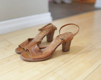 vintage tan leather ankle strap wood sandals womens 7