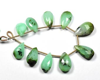 7 Inch Strand-10x16-11x20mm-Natural Chrysoprase Faceted Pear Shape Briolette Beads Strand 10 Beads(2942-43)