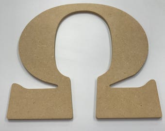 """Greek Letter """"Omega"""" MDF Wood 10"""""""