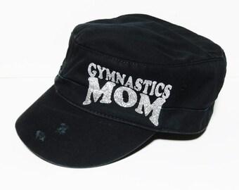 "NEW! Silver Glitter "" Gymnastics Mom "" Black Vintage Style Cadet Cap"
