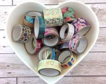 "Washi Roll Reminants // Grab Bag of 20 Rolls // Anywhere From 1"" to 23"" on Each Roll"