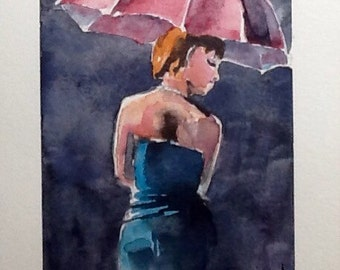 """Watercolor Paintings Original, """"Night Out"""", 5x7 free shipping North America and UK!!!"""