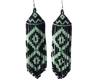 Native  American Beaded Earrings  Inspired.  Black Green Earrings. Long Earrings.  Beadwork.