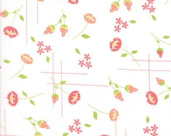 Lulu Lane Coral on White Meadow Yardage SKU# 29021-11 Lulu Lane by Corey Yoder for Moda Fabrics