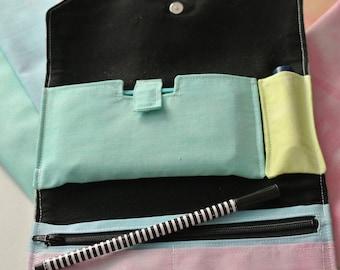 Trifold wallet | zipper wallet | wallet with cell phone holder | Linen Wallet | Small Purse | chapstick holder | Phone Wallet | Women Wallet