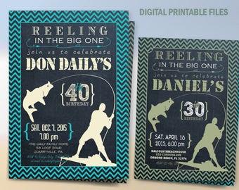 Fishing Birthday Party Invitation, Printable 30th - 40th - 50th - 60th Party Invitation, Chalkboard Theme, DIY