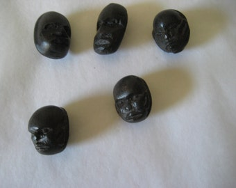 5 Vintage Carved Wood Buttons  No two exactly alike.   Self Shanks