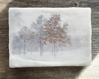 Lingering Seasons. Original encaustic wall art. Encaustic Minnesota Winter Photography. Landscape. Orange leaves. Snow. Minimal 5x7