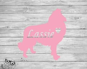 Collie Decal, Collie Car Decal, Collie Laptop Decal, Custom Pet Decal, I love my Collie, Personalized Pet Decal - You choose size and color.