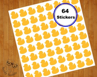Rubber Duck Stickers, 64, Rubber Duck Planner Stickers, Rubber Duck Sticker Set, Rubber Duck Envelope Seals, Baby, Rubber Ducky, Shower