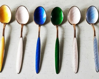 Six Gilded Silver and Guilloche Enamel Coffee Spoons