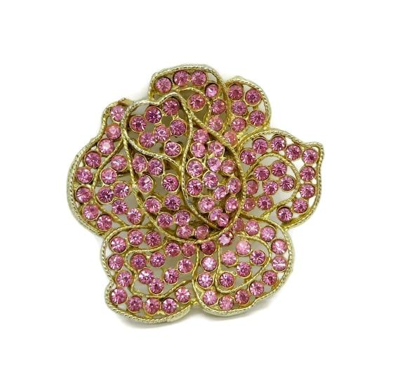 Large vintage green rhinestone flower brooch by weiss - Weiss Pink Rose Rhinestone Gold Tone Flower By