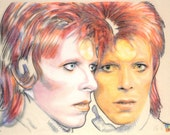 Original, hand drawn portrait of David Bowie as Ziggy Stardust, in charcoal and pastel on calico