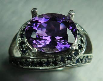 4.20ct Natural purple Amethyst & blue sapphires Sterling 925 silver marine knot ring (available in gold, Platinum, Palladium) all sizes