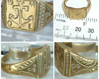 WW1I Trench Art Sweetheart Signet Ring Anchor symbolic Hope Steadfastness c1944